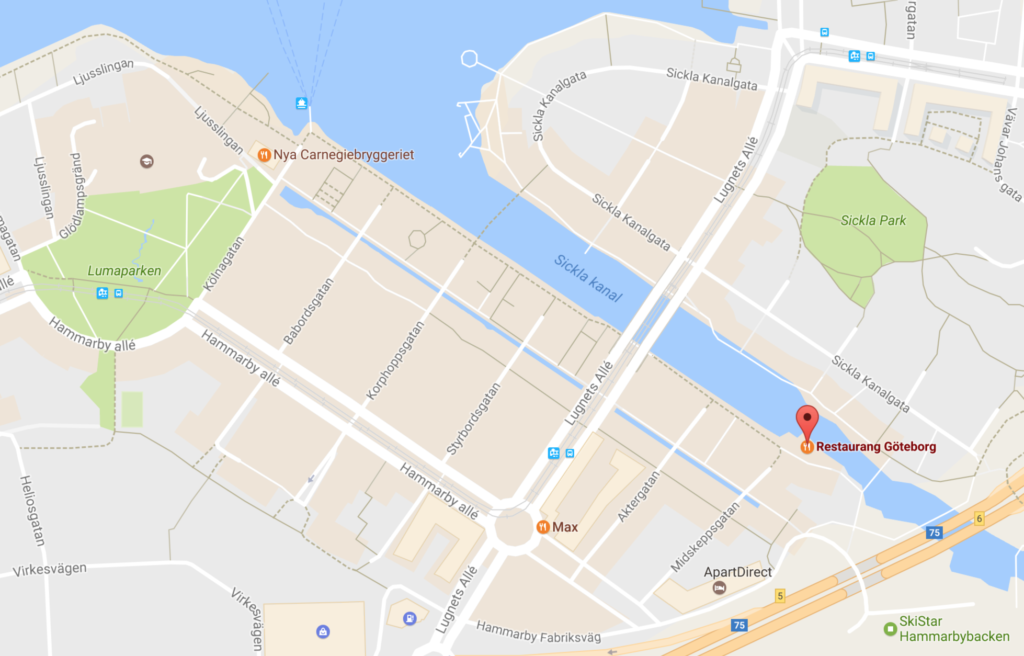 Carte Google, restaurant Göteborg