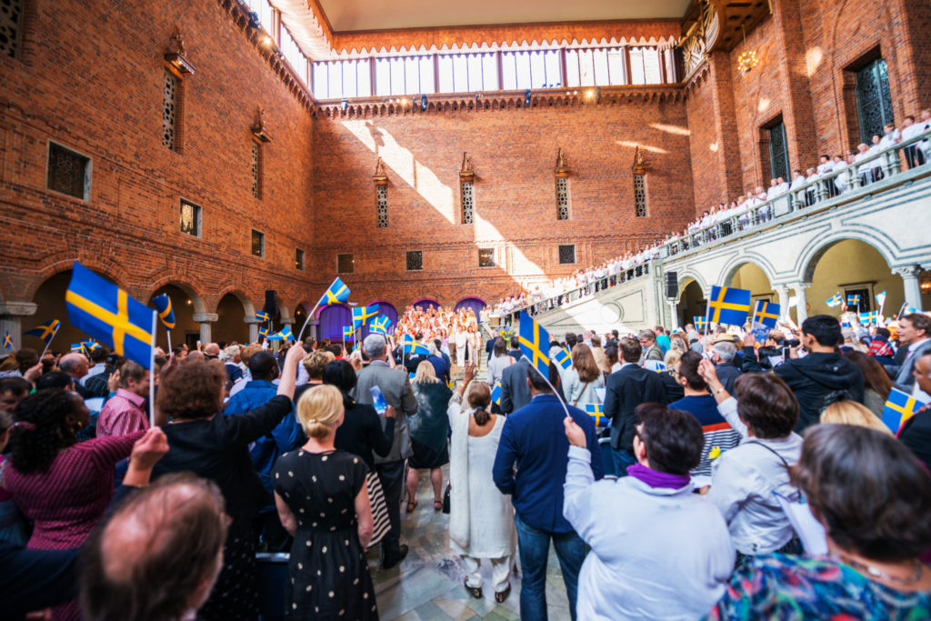 Cérémonie d'accueil des nouveaux Suédois à l'hôtel de ville de Stockholm