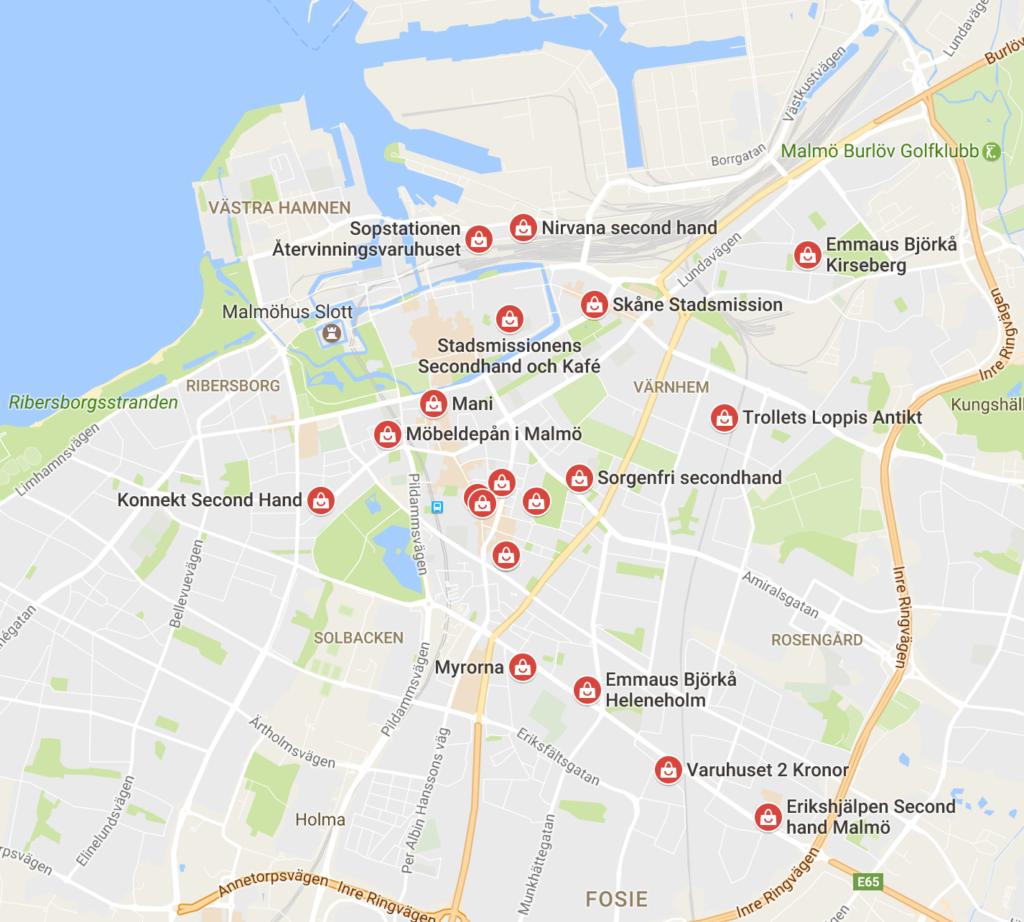 Boutiques second hand à Malmö