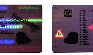 Permis de conduire suédois en lumière UV