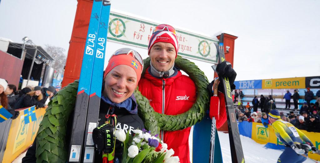 Les gagnants de la Vasaloppet 2018: Lina Korsgren et Andreas Nygaard