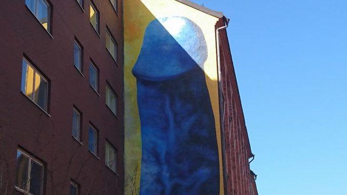 Pénis bleu géant de Carolina Falkholt à Stockholm