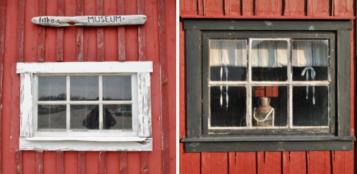 Fenêtres de cabanes de pêcheurs à Lickershamn