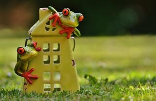 Deux grenouilles sur une maison en céramique