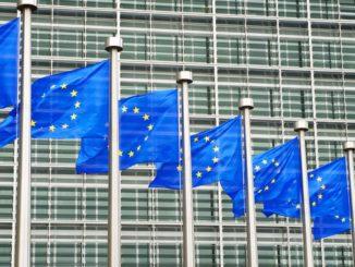 Le Parlement européen avec des drapeaux