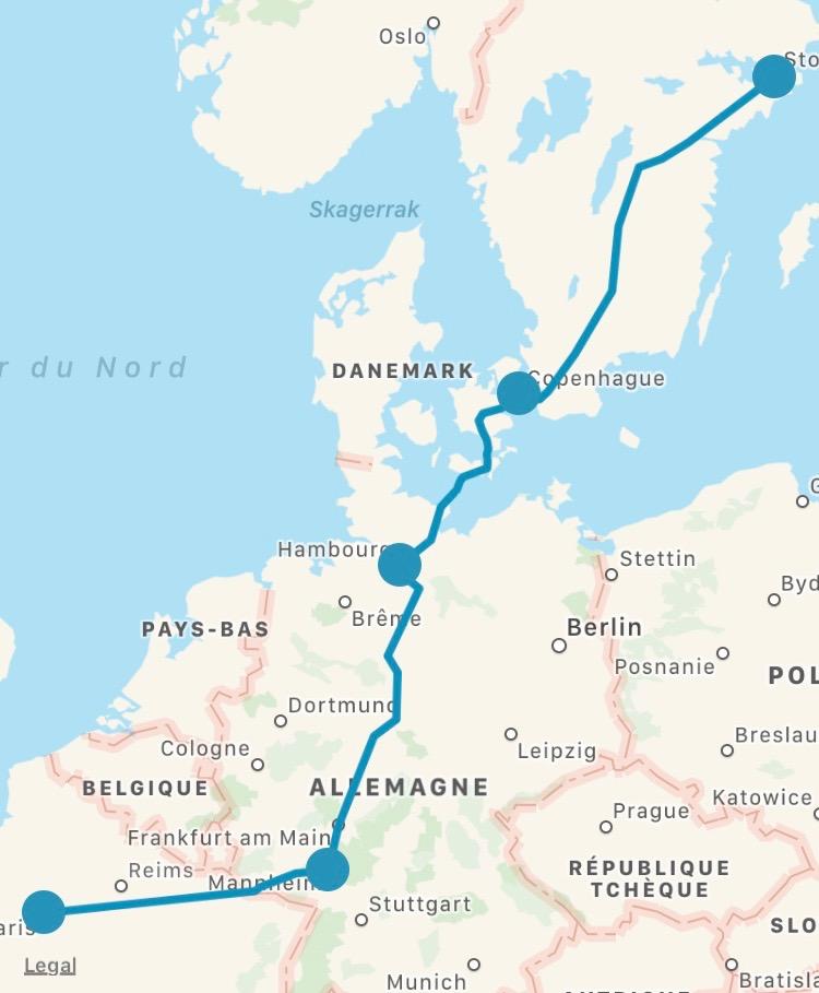 Paris-Mannheim-Hambourg-Copenhague-Stockholm