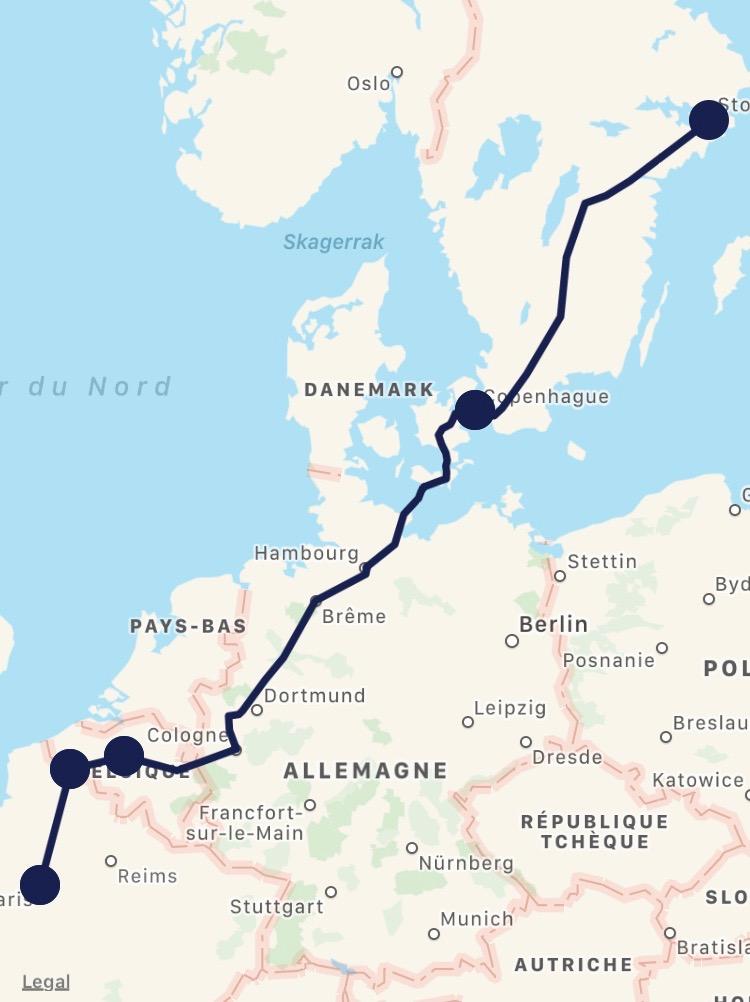 Paris-Lille-Bruxelles-Cologne-Hambourg-Copenhague-Stockholm