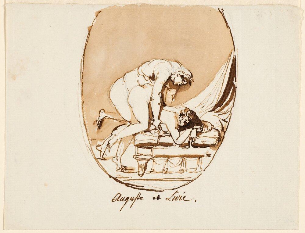 Scène érotique, l'empereur Auguste et Livia, dessin à l'encre de chine de Johan Tobias Sergel, 1ère moitié du XVIIIème siècle