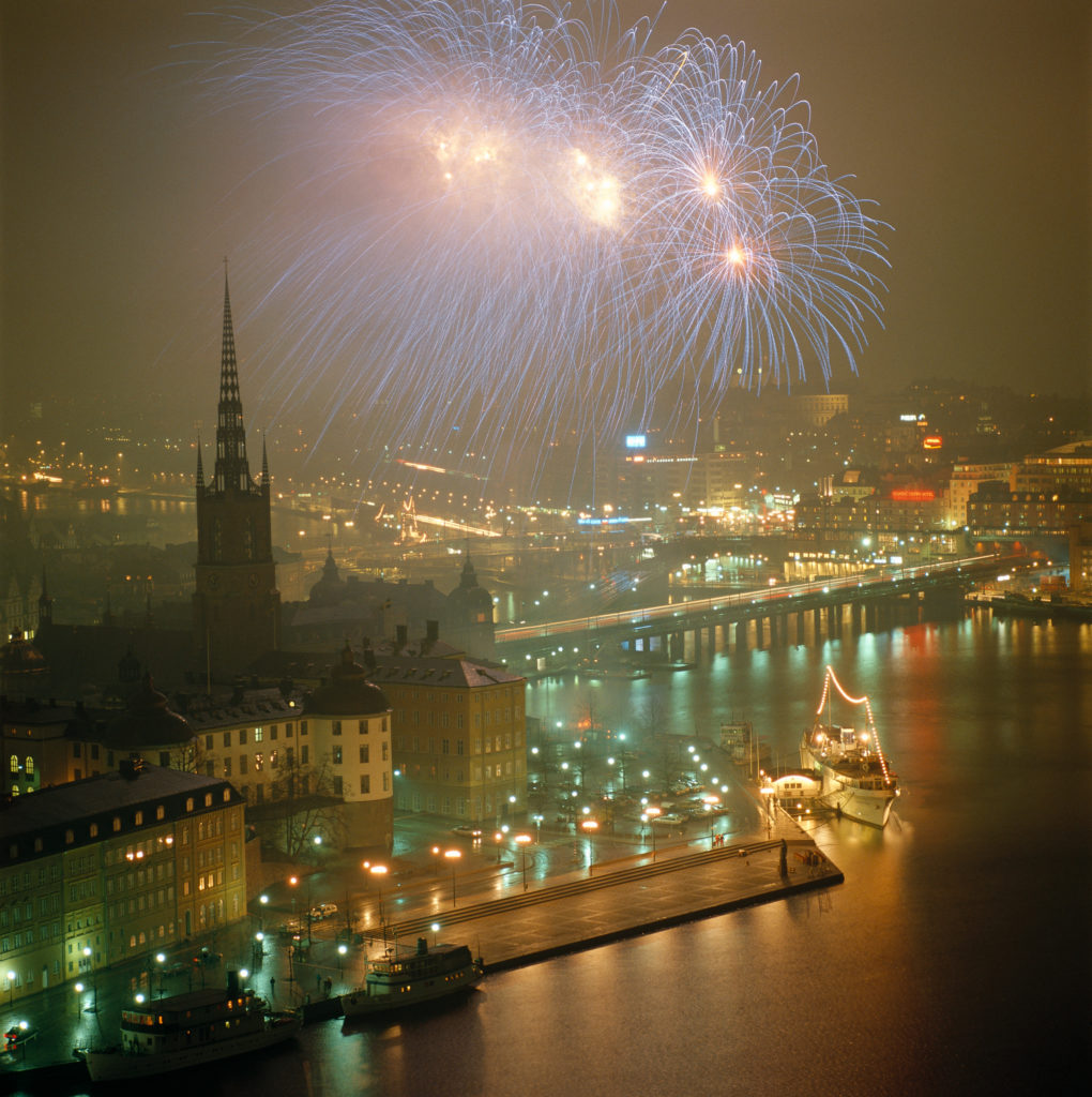 Feux d'artifice du Nouvel An à Stockholm