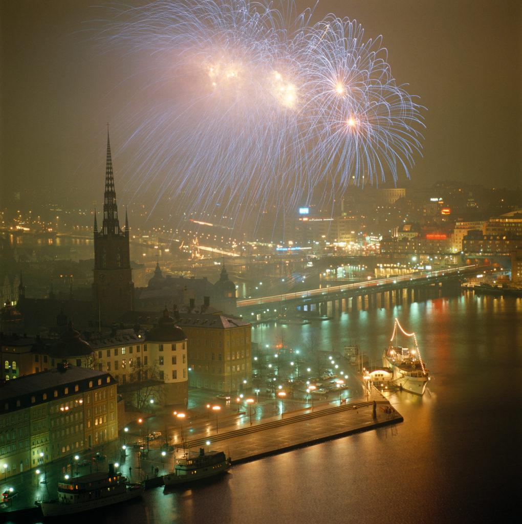 Feux d'artifice du Nouvel An à Stockholm