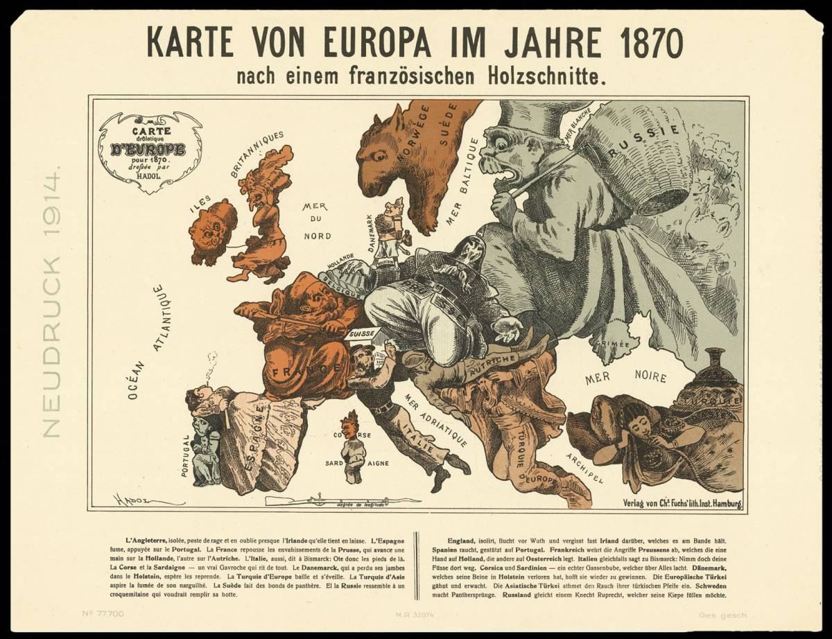 Carte drôlatique d'Europe pour 1870 (Paul-Joseph Hadol).