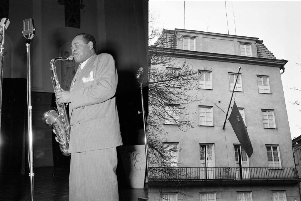 A gauche, le saxophoniste américain Coleman Hawkins à Stockholm en 1950. A droite, l'ambassade soviétique, Villagatan 17.