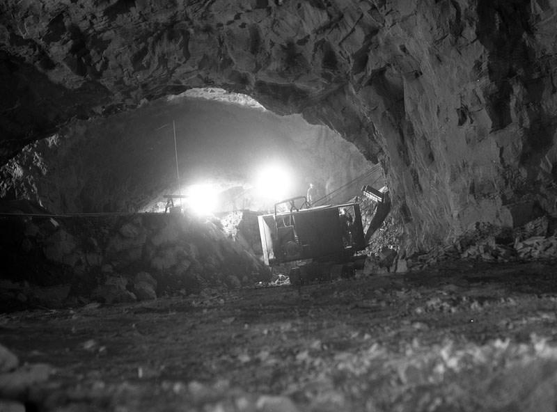 Le creusement de l'abri de Katarinaberget, au début des années 1950.