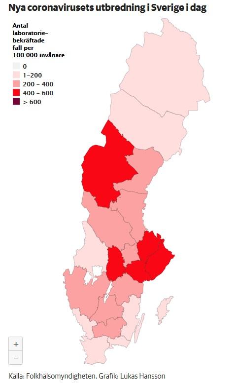 Répartition géographique du coronavirus en Suède au 20 mai