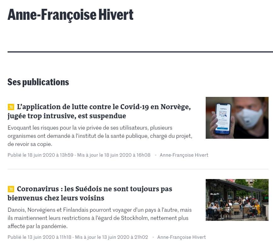 Anne-Françoise Hivert sur Le Monde