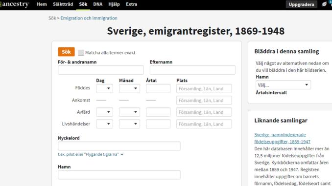 Capture d'écran du site web Ancestry.se