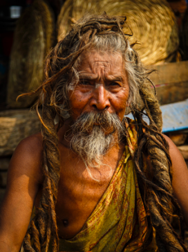Looking for Happiness, holy man from the Buddhist religion