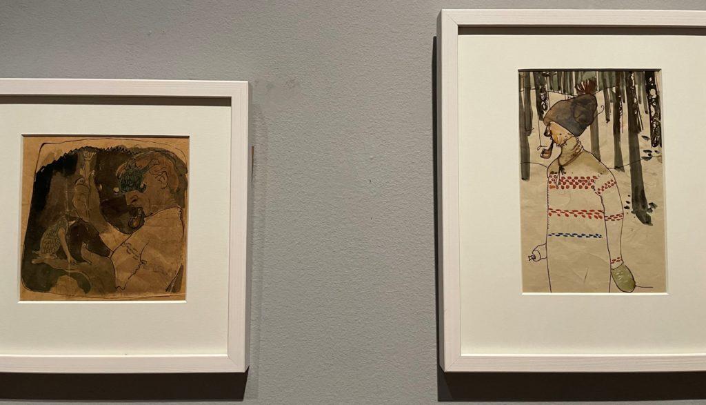 Deux autoportraits de John Bauer, aquarelle, non-daté et 1917