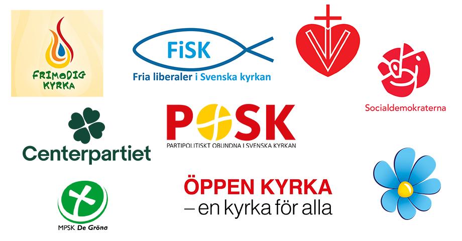 Logo des partis à kyrkovalet